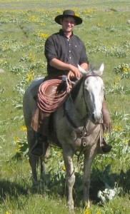 Equine researcher, Fred Holcomb, rides at the HF Bar Ranch