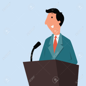 27673961-Happy-businessman-wearing-suit-standing-at-a-podium-with-microphone-giving-speech-or-lecture--Stock-Vector